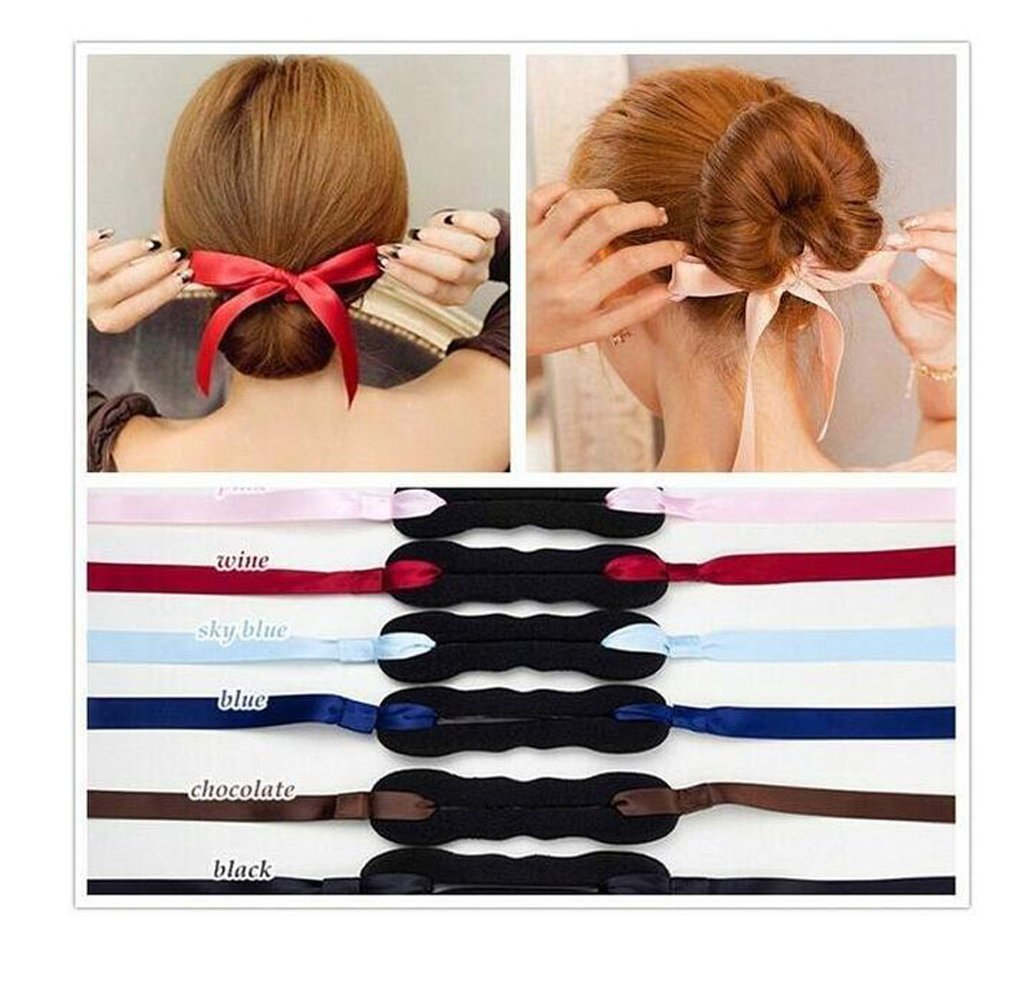 3PCS Black+Red+Pink Bowknot Sponge Foam Bun Maker Shaper Curler/Hair Holder Magic Roller French Twist Braiding Tool Hair Bun Donut Hair Piece Hair Styling Accessories for Women Lady Girls Upstore