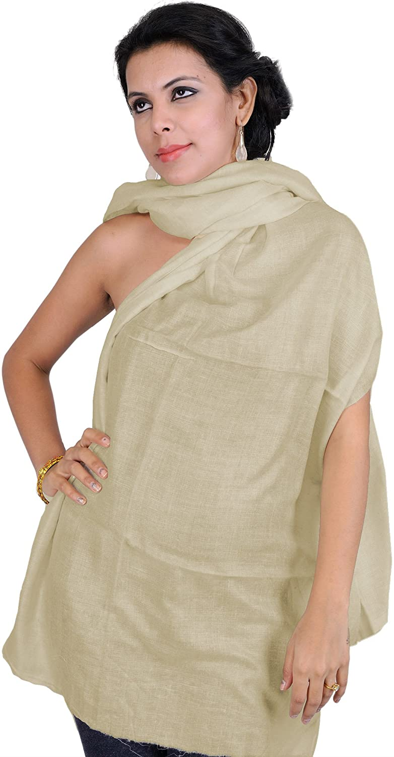 Exotic India Plain Stole as an Imitation of Shahtoosh, - Color Camel SHY30--camel