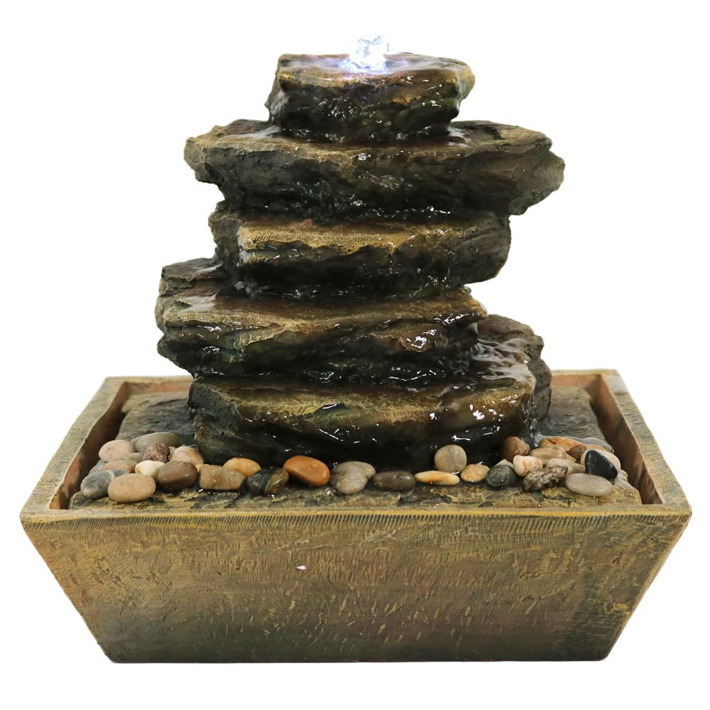 Sunnydaze Tabletop Water Fountain with LED Light - Cascading Rocks Indoor Waterfall Feature - Quiet Water Sound for Relaxation - Small 12 Inch Desktop Size by Sunnydaze Decor