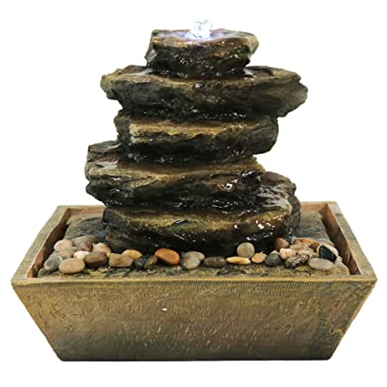 Etonnant Sunnydaze Cascading Rocks Tabletop Water Fountain With LED Light, Indoor  Small Relaxation Waterfall Feature,