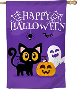 erolrail Cute Cat White Ghost Pumpkin Monster Happy Halloween Garden Flag Decoration Flag Purple Yard FlagsHalloween Indoor & Outdoor Decoration 28x40in