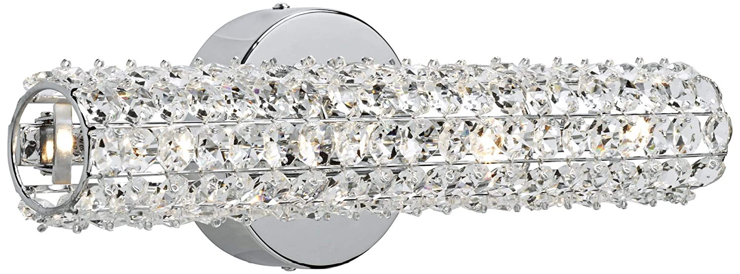 Divina Modern Wall Light Chrome Hardwired 16 1 2 Wide Light Bar Fixture Clear Crystal Cylinder for Bathroom Vanity – Possini Euro Design