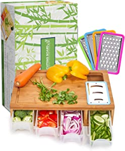 SHINESTAR Cutting Board with Containers, Lids, Graters,Bamboo Meal Prep Station, Cutting Board with Trays for Kitchen - Sturdy, Organized, Easy to Use