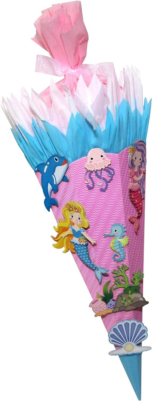 Schult/üte Bastelset Meerjungfrau Zuckert/üte 68cm hoch aus 3D Wellpappe