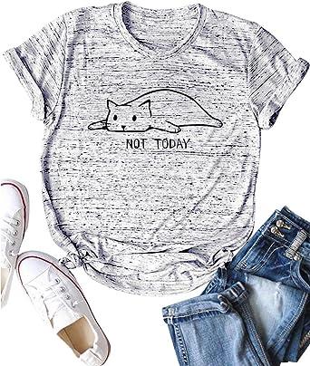 YUHX Not Today Camisetas Mujer Carta Gato gráfico Estampado de Manga Corta con Cuello Redondo Tops Animal Camisetas: Amazon.es: Ropa y accesorios