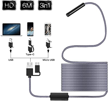 70/ /° Angle de visualisation focale USB Cam/éra endoscopique avec 8/ LED r/églable endoscope USB de type C USB HD Cam/éra dinspection pour smartphone Android