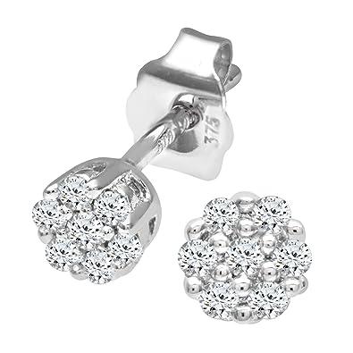 Naava 0.07 ct Diamond Earrings in 9 ct White Gold zp5Hb