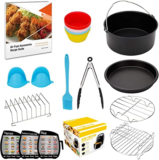 XL-Air-Fryer-Accessories-8-Inch, for AirFryer Accessory Set for 5.3QT - 5.8QT with Recipes Cookbook, Magnetic Cheat Sheets, Compatible with Gowise ...