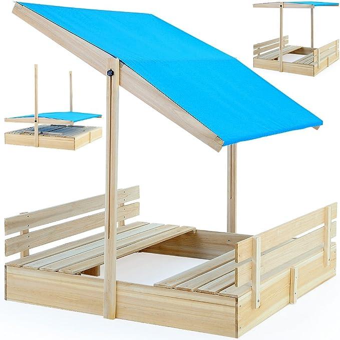 Caja de arena Asiento banco Casa de juguete Madera Caja de arena ...
