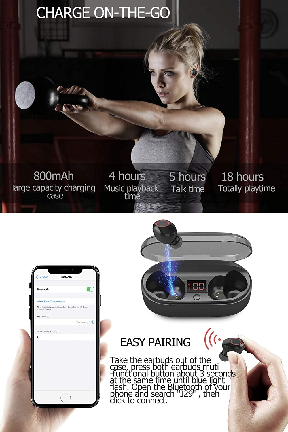 Wireless Bluetooth Earbuds 5.0 LCD Display, True Wireless Earphones Bluetooth Waterproof Stereo Earbuds with Microphone, Wireless Headphones Noise Cancelling with Charging Case for iPhone Android
