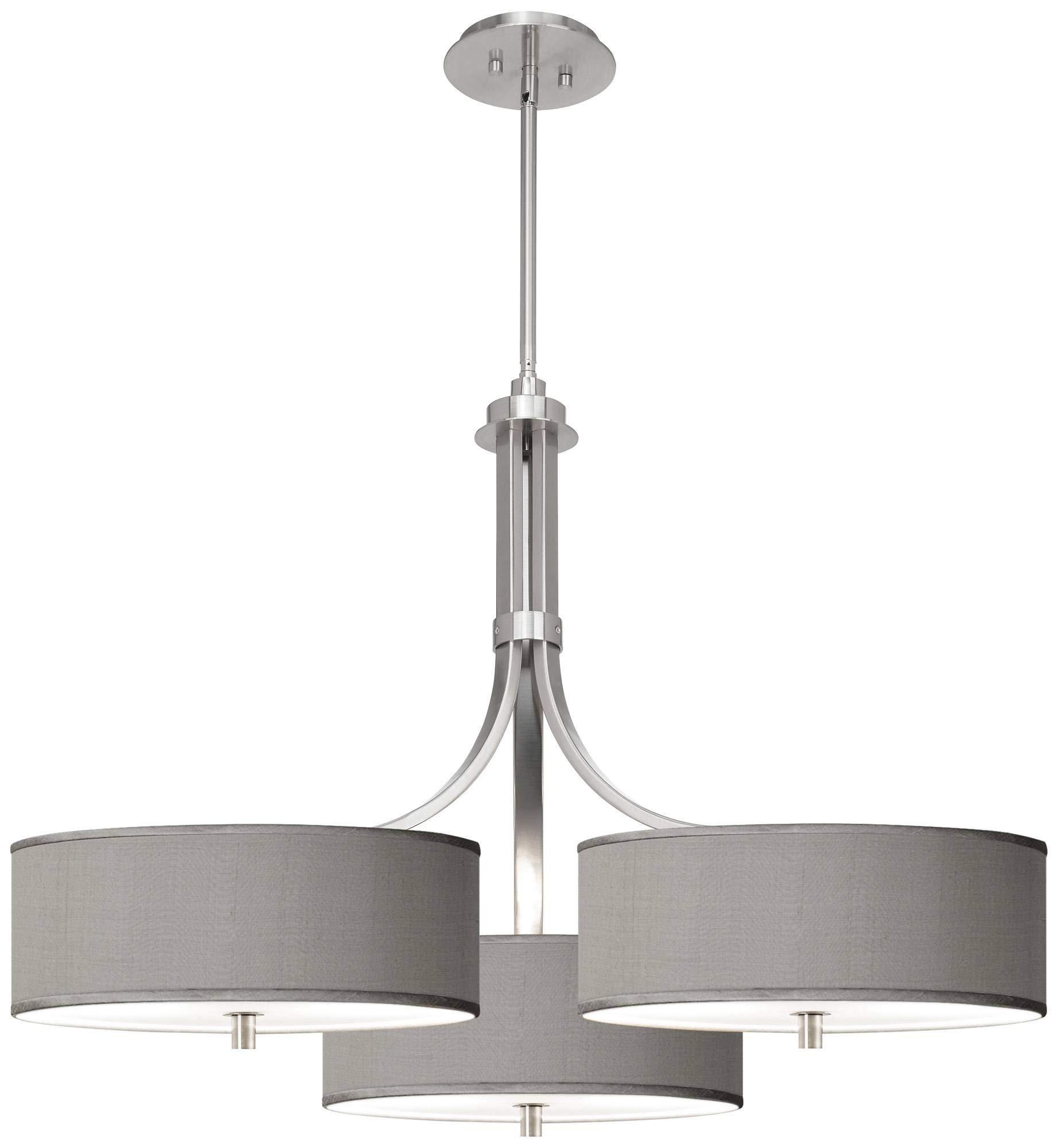 Gray Faux Silk 36'' Wide Triple Shade Pendant - Possini Euro Design