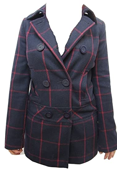various kinds of 100% satisfaction guarantee clearance sale River Island Navy Blue & Red Check Button Up Wool Blend Coat ...