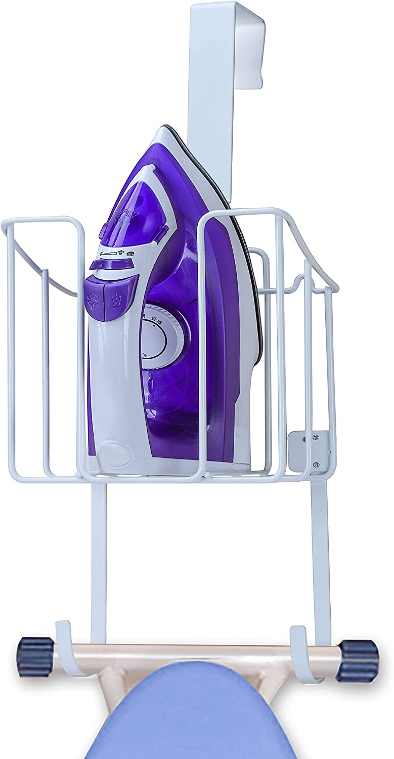 HOUSE AGAIN Ironing Board Holder, Durable Iron Holder with Easy Installation, Large Storage Iron Hanger for Organizer-Ironing Basket Over Door or Wall Mount in Laundry Room