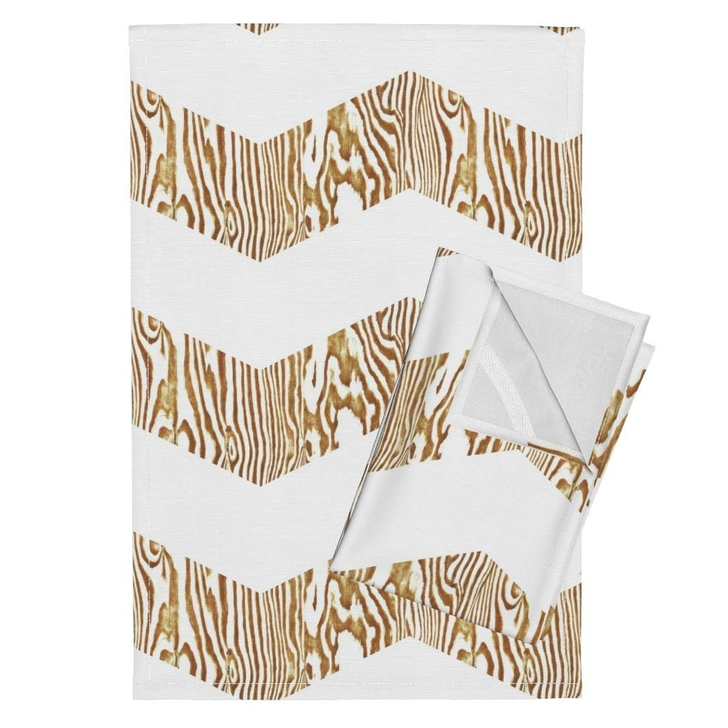 Roostery Wood Chevron Angle Zigzag Brown White Zebra Tea Towels Chevron Safari ~ Gold & White by Peacoquettedesigns Set of 2 Linen Cotton Tea Towels