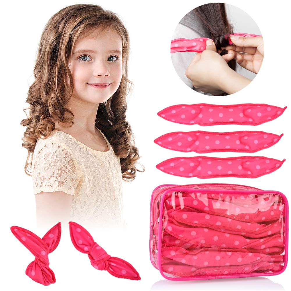 30pcs Hair Rollers - HailiCare Foam Hair Roller for Hair DIY - Flexible Soft Pillow Curlers - No Heat for Women & Kids (Pink) by HailiCare