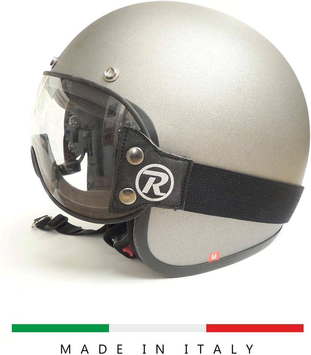 Raleri Visera universal transparente con correa el/ástica para cascos Caf/é Racer y Custom