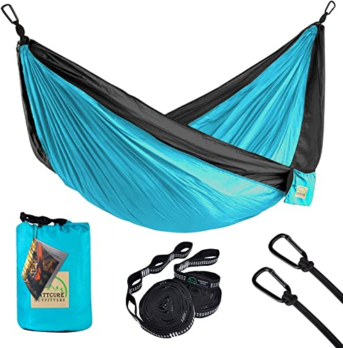 LATTCURE Double Camping Hammock, Lightweight Portable Hammock Parachute Nylon Fabric 600LB High Capacity with 2 Adjustable Hanging Straps for Camping Backpacking Travel Beach Yard