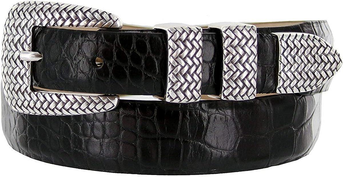 Pele Belt Men 30 mm Wide Italian Calfskin Silver Basketweave 4 Piece Buckle