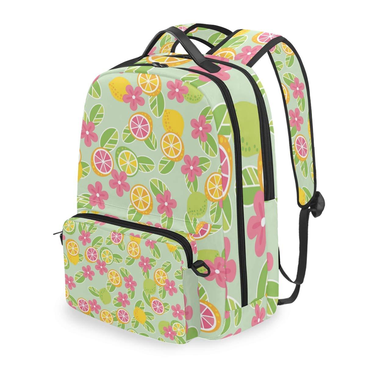 Lemon Daisy Flower Shoulder Backpack Messenger Crossbody Laptop Bag Student Bookbags for Kid Girls Boys