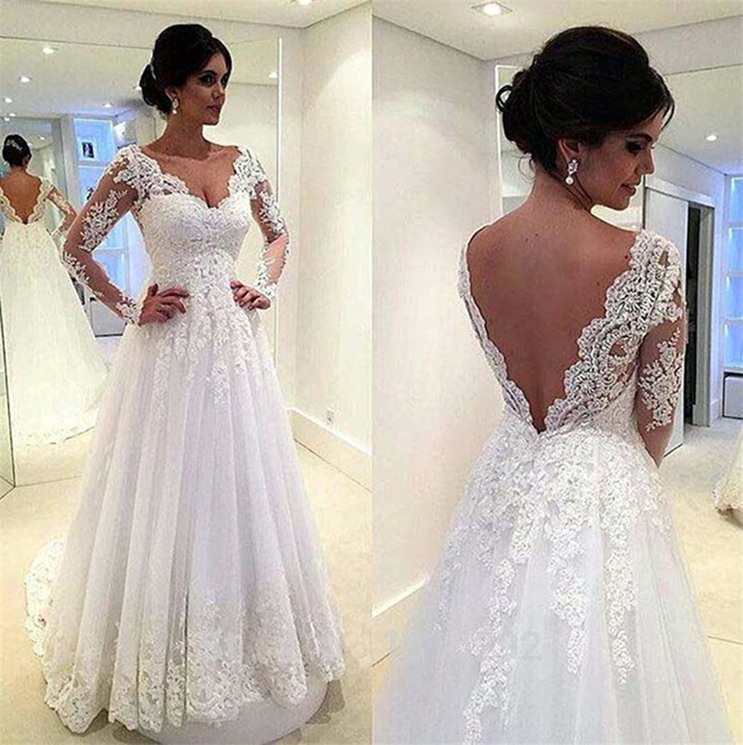 Girls Dress Wedding Dress With Long Sleeves For Womens 2018 Sexy V-Neck A-Line Backless Bridal Gowns at Amazon Womens Clothing store: