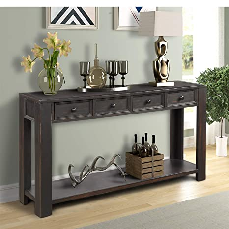 P PURLOVE Console Table for Entryway Hallway Easy Assembly 64\
