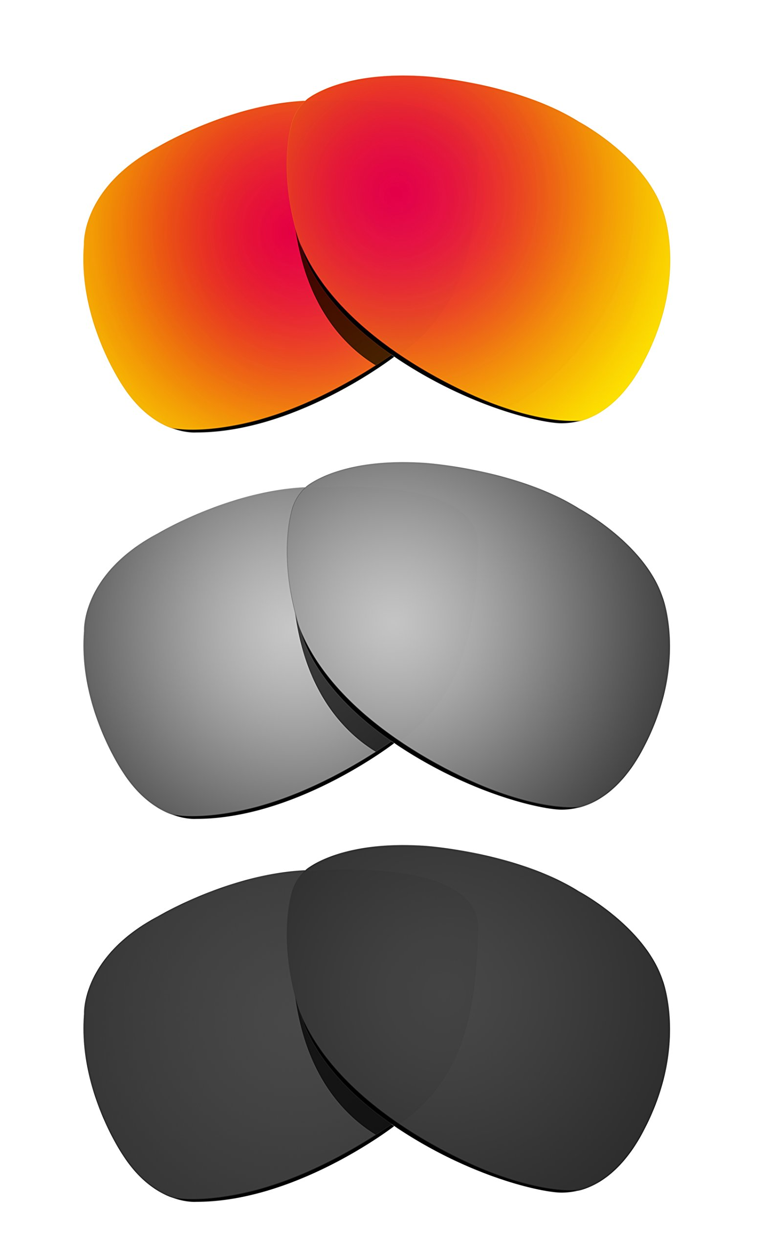 Littlebird4 3 Pairs 1.5mm Polarized Replacement Lenses for Oakley Crosshair Sunglasses - Multiple Options (Black+Silver+Fire Red)