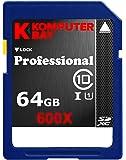 Komputerbay 64Go SDXC Secure Digital Extended Capacity Speed Class 10 UHS-I 600X Ultra High Speed Carte Ecrire Mémoire Flash 40 Mo/s 90 Mo/s Lire 64Go