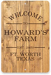 Pattern Pop Personalized Rustic Wood Plank Welcome to The Farm Metal Room Sign