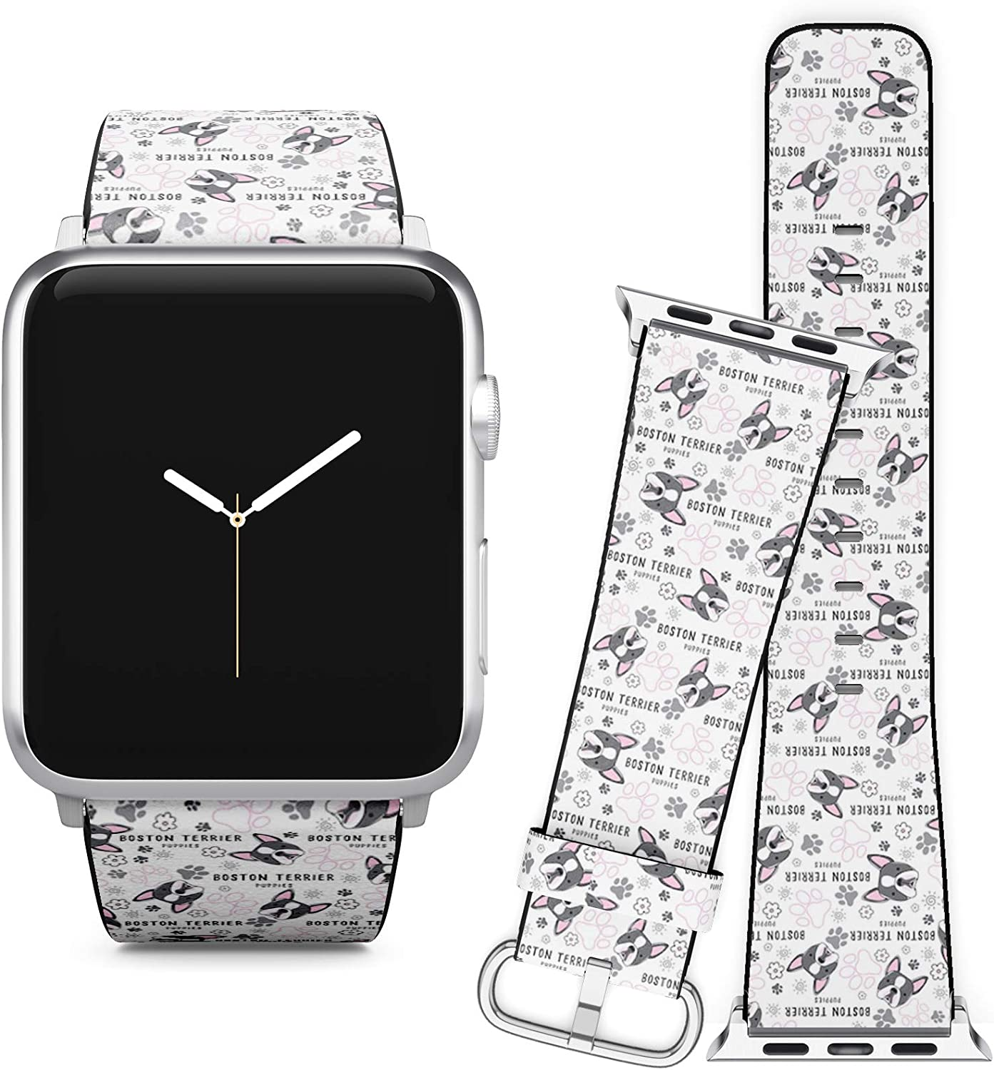 Compatible with Apple Watch iWatch (38/40 mm) Series 5, 4, 3, 2, 1 // Soft Leather Replacement Bracelet Strap Wristband + Adapters // Boston Terrier Dog Breed