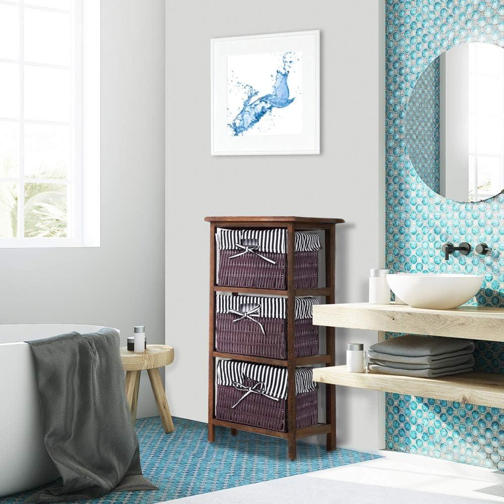 Casaria Korbregal Badregal mit 3 K/örben Landhaus Stil Paulownia Holz Bad K/üchen Regal Schublade 71x31x28cm Blau Wei/ß