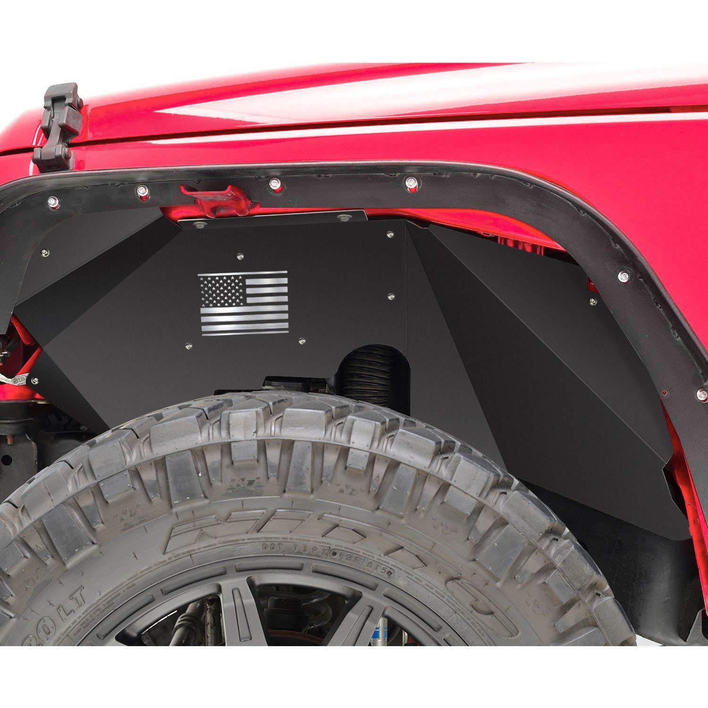 Sunluway Front Inner Fender Liners Mudguards for 2007-2018 Jeep Wrangler JK JKU 4WD Aluminum Lightweight Design(US Flag Logo)
