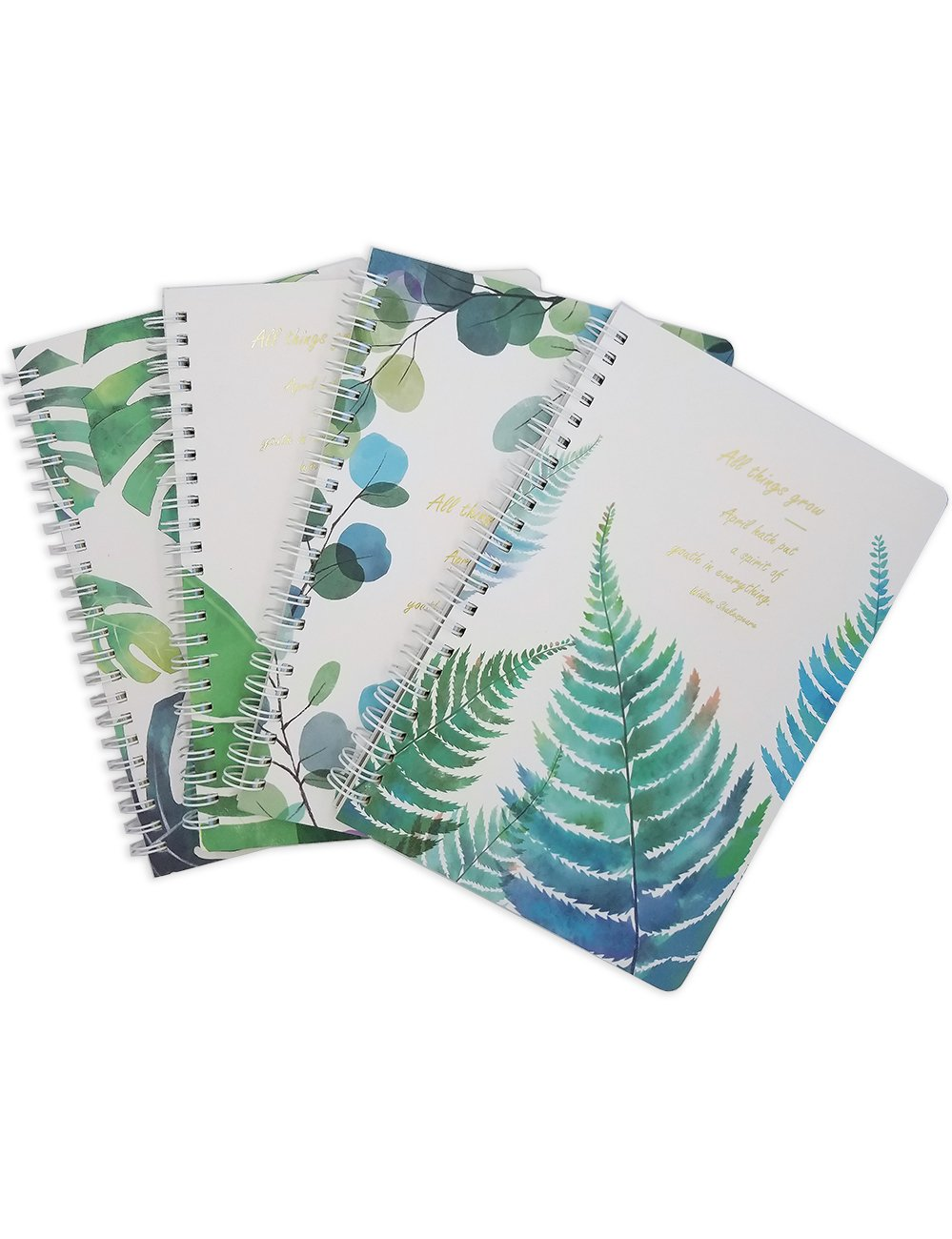 What's Fun A5 Spiral Theme designed Hardcover College Ruled Notebook/Composition/Journals/Dairy/Office Note Books Pack of 4(All Things Grow)