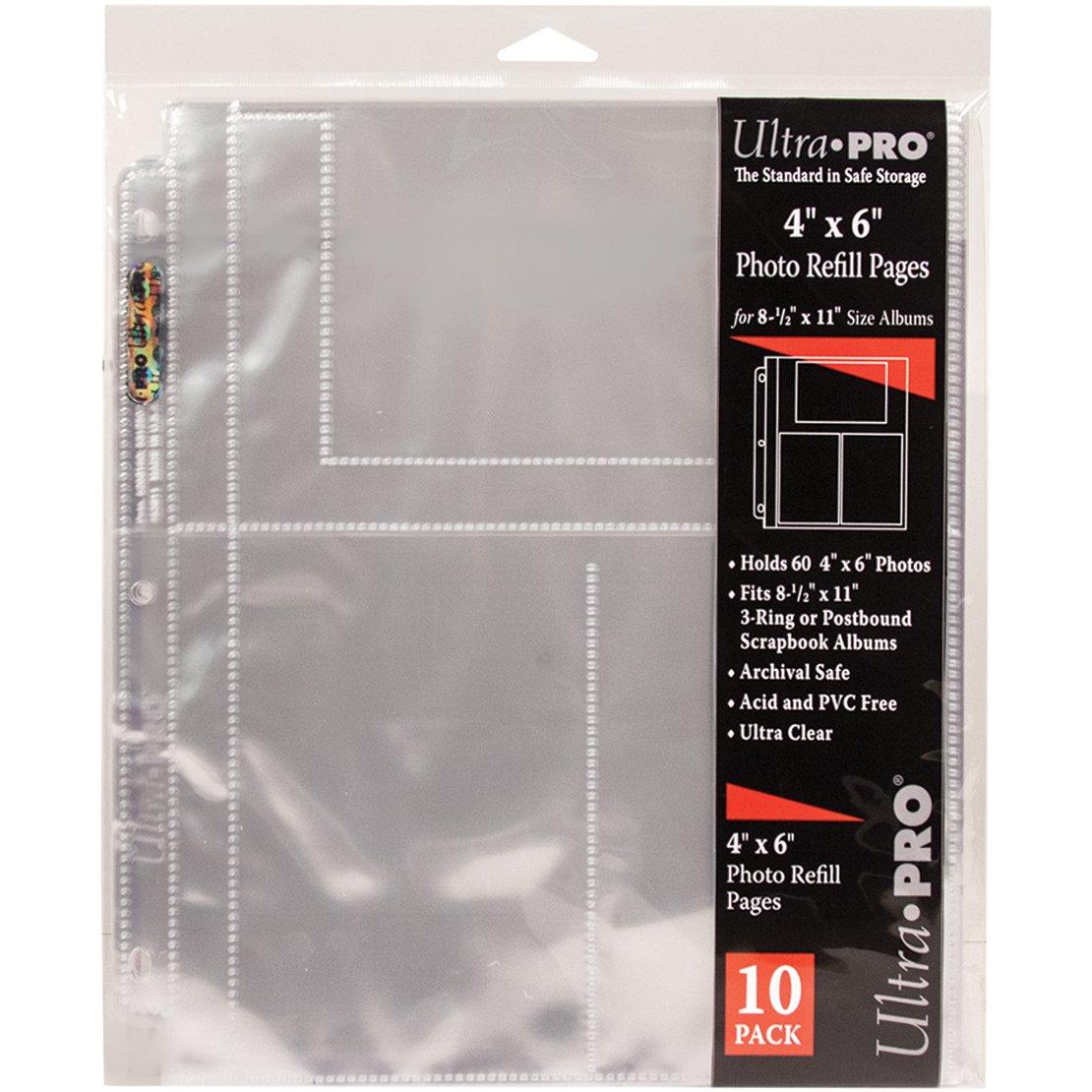Ultra Pro 8.5x 11 3 trou recharge Pages d/étient 60 4 /« X 6 /» Photos-10//paquet