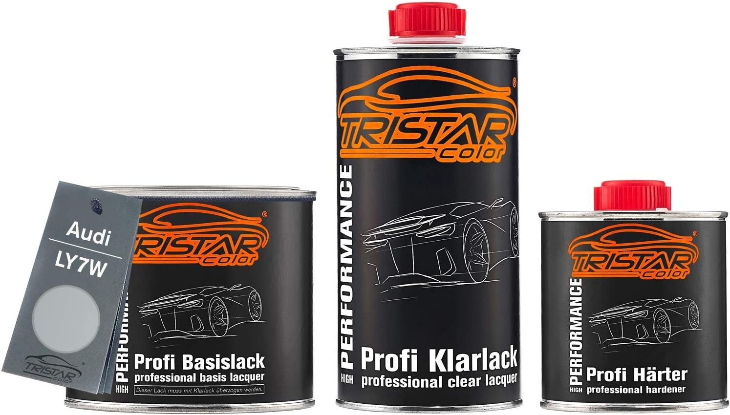 Tristarcolor Autolack Set Dose Spritzfertig Für Audi Ly7w Silbersee Metallic Argent Metallic Basislack 2k Klarlack 1 25l Auto