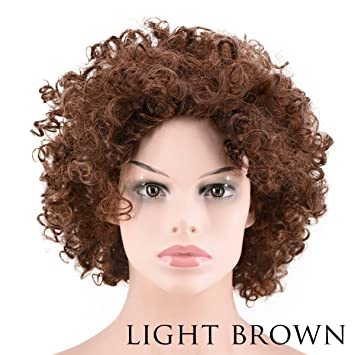 Amazon.com  Short Afro Wig Kinky Curly Hair Loose Fluffy Hairstyle Heat  Resistant Fiber Wig for Women Party Wig (light brown)  Beauty 03b1a662c486