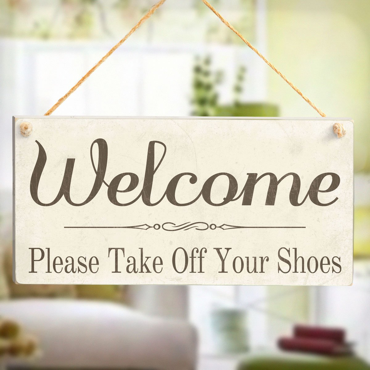 Welcome Please Take Off Your Shoes - Wooden Sign Gift: Amazon.co ...