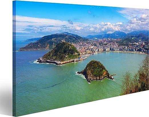 Cuadros Decoracion Salon Modernos Ciudad de San Sebastián - Donostia, País Vasco, España, Vista panorámica de la bahía de La Concha, los Pirineos y el Océano Atlántico UTX: Amazon.es: Hogar