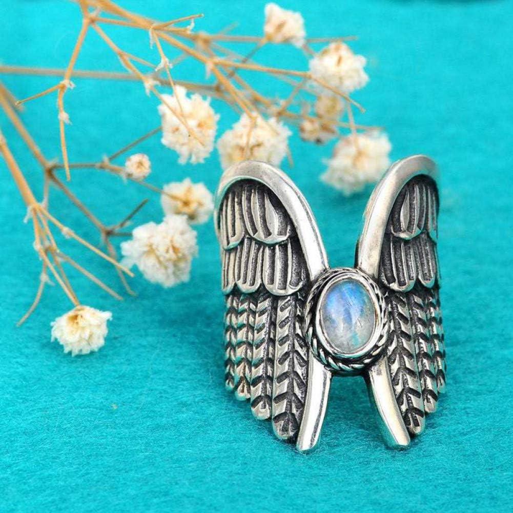 CTDMMJ Alas de ángel Anillos de Piedra Lunar para Mujer Chica Fantasía Mariposa voladora Metal Anillo de Plumas de Plata Joyería de Fiesta