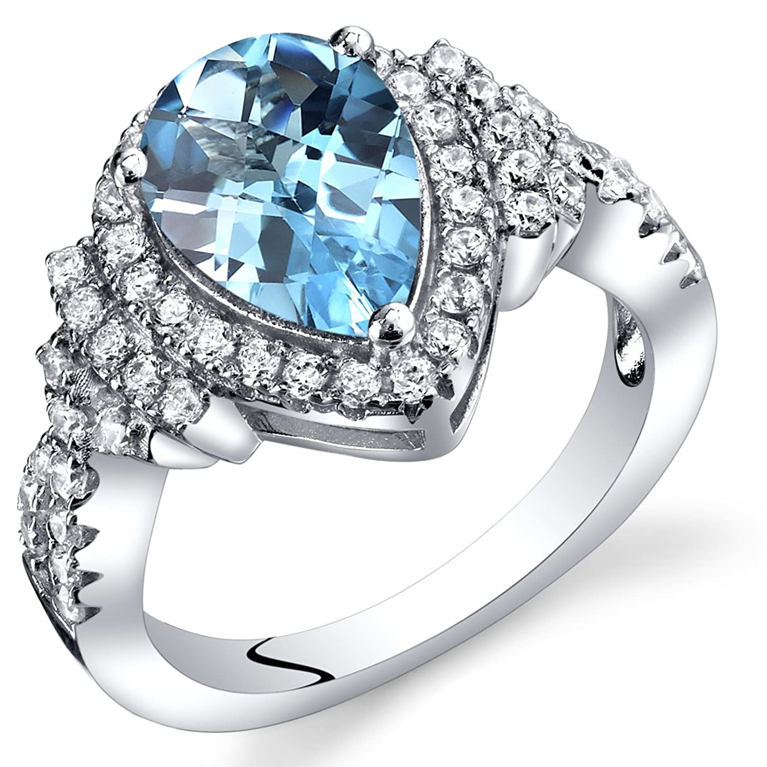 Swiss Blue Topaz Tear Drop Checkerboard Ring Steriling Silver 2.00 Carats Sizes 5 to 9