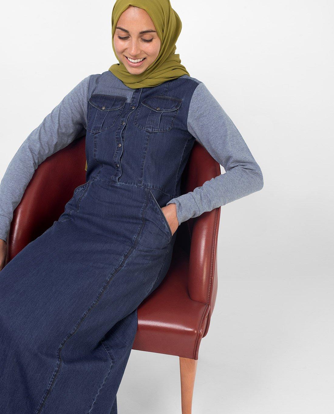 Silk Route Grey Contrast Fine Denim Maxi Dress Jilbab Medium 56 by Silk Route (Image #2)
