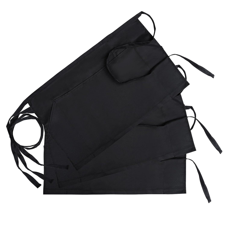 GWHOLE Pack of 3 Waist Apron with 3 Pockets for Chef Baker Bartender Craftsmen,Black
