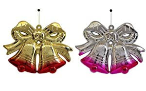 TIED RIBBONS Christmas Decoration Items for House Set of 2 Bells for Wall, Door Hanging