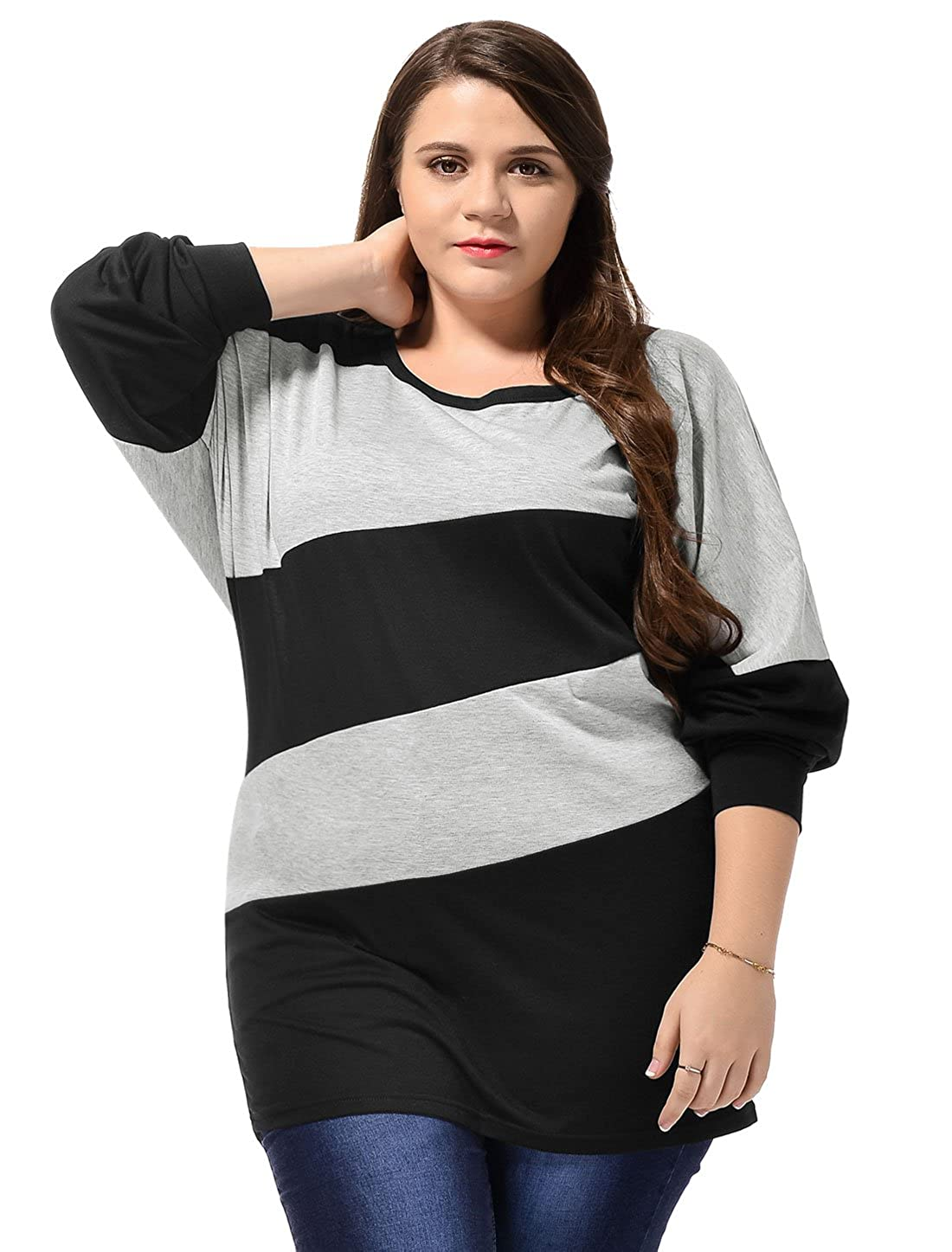 Agnes Orinda Women's Plus Size Diagonal Stripes Long Batwing Sleeves Tunic Top 2X Black Allegra K a15092800ux0393