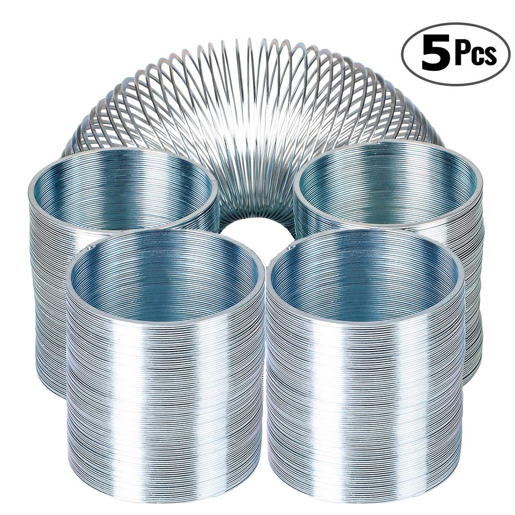 5 Pack Bulk Metal Silver Coil Spring Toys for Party Favors Gifts Great for Small Party Favor for Kids /& Adults Fidget Toy Stress Relief Bedwina Metal Slinky Spring Walking Spring Toy -
