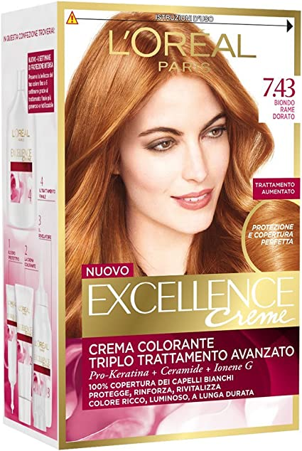 EXCELLENCE Crema Colorante Rubio Cobre Dorado 7,43 40 ml ...