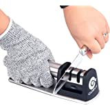 Kitchen Knife Sharpener, COSVE Professional Knife Sharpening Tool Set, 2 Stage Diamond Manual Sharpening System, with Cut Resistant Glove