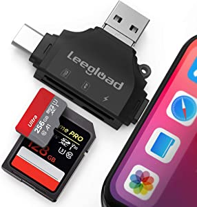 SD Card Reader for iPhone/iPad/Android/Computer,Digital Camera 4 in 1 SD Reader Adapter,Memory Card Adapter with USB C/USB A/Micro USB,Trail cam Card Viewer by LEEGLOAD(Black)