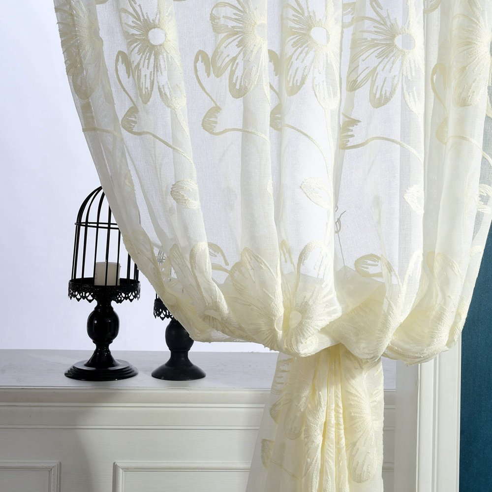 ZWB Fresh Floral Embroidered Tulle Voile Beautiful Door Window Room Curtain White Drape Panel Sheer Scarf Valances Multi Color