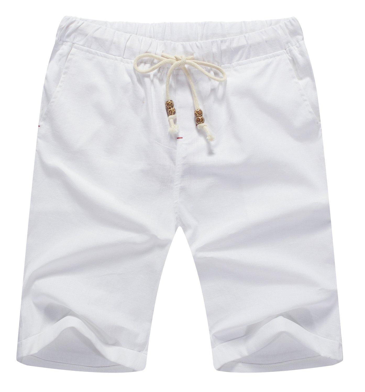 Mr.Zhang Men's Linen Casual Classic Fit Short Summer Beach Shorts WhiteUS L