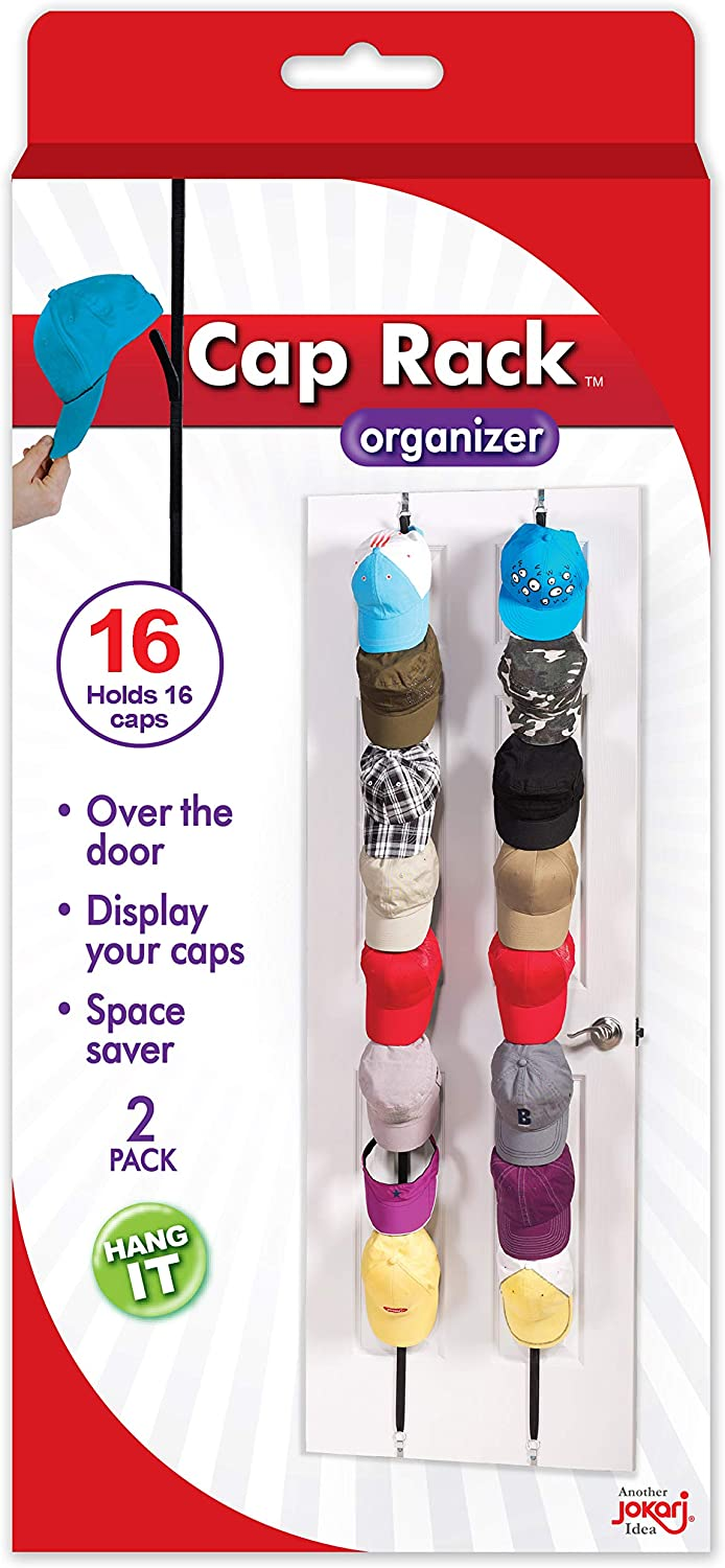 B00067WSPM Cap Rack 2 Pack - Holds up to 16 Caps for Baseball Hats, Ball Caps - Best Over Door Closet Organizer for Men, Boy or Women Hat Collections - Display Racks With Clips, Perfect Holder and Storage 71sZ78DVYdL